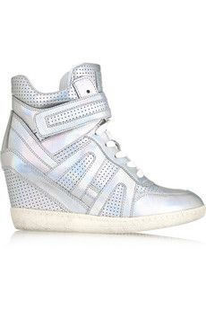 ASH Beck perforated metallic leather wedge sneakers   THE OUTNET