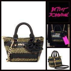 "BETSEY JOHNSON Mini Crossbody Bow Tote NEW WITH TAGS   BETSEY JOHNSON Mini Crossbody Bow Tote  * Exterior bow detail, gold-tone star print, logo, & hardware.   * Dual rolled handles, top zip closure, & detachable/adjustable strap  * Interior wall zip pocket  * Approx. 6""H x 9"" W x 3""D, 3.5"" handle drop, 24"" strap drop  * A firm structure bottom   Material: PU exterior & polyester lining Color: Black & gold   No Trades ✅ Offers Considered*/Bundle Discounts✅ Betsey Johnson Bags Crossbody Bags"