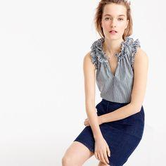 Ruffle top in striped cotton poplin : Women tops & blouses | J.Crew