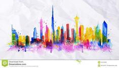 dubai watercolor skyline