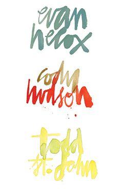 Evan Hecox has cool hand-written (painted) type.