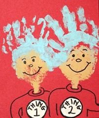 Handprint and Footprint Art : Handprint Thing 1 & Thing 2 - Dr Seuss Crafts Projects For Kids, Art Projects, Crafts For Kids, Arts And Crafts, Dr Seuss Day, Dr Suess, Theodor Seuss Geisel, Footprint Crafts, Hat Crafts