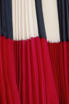 REDValentino - Color-block Plissé Chiffon Maxi Skirt - Blue - IT44