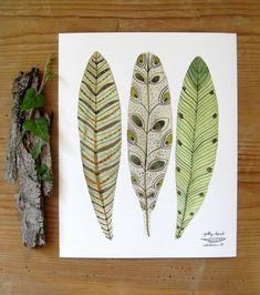 bird feathers art giclee print reproduction por GollyBard en Etsy, $36.00