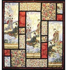 Quilt Pattern - Leesa Chandler Designs - Southern Jewels maybe a panel would begood idea Japanese Quilt Patterns, Quilt Block Patterns, Big Block Quilts, Quilt Blocks, Quilting Projects, Quilting Designs, Quilting Templates, Quilting Ideas, Asian Quilts