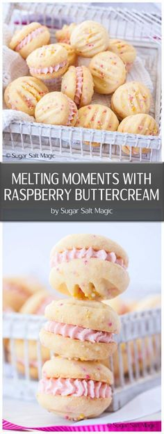 Melting Moments Cookies are a type of shortbread that melts in your mouth and these ones are filled with an easy Raspberry Buttercream. #meltingmoments #raspberrybuttercream #cookies
