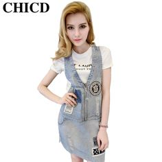 c281e6f9cefb CHICD 2017 Spring Autumn Women Casual All Match Slim Vintage Badge Solid  Blue Denim Dress Jeans Straps Dress Clothing XD102-in Dresses from Women s  Clothing ...