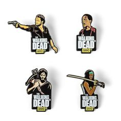 This Walking Dead Enamel Pin Set Series 1 comes as a set of 4: Daryl, Michonne, Rick, and a walker. Stickback style, these enamel pins come with rubber stoppers.