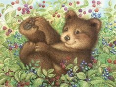 """Fun in the Berry Bushes - Lisa McCue - 1024x768 -- I have a similar picture to this one on my """"Puzzling Pictures"""" board except that one has other animals in the berry bushes besides this bear cub. :)"""