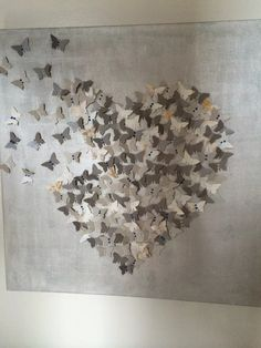 Butterfly origami heart wall hanging