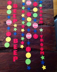 Bright and colorful Beep, Beep - Vroom, Vroom themed paper garlands for any car, trucks themed birthday party on Etsy, $14.00
