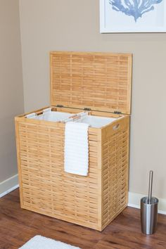 BirdRock Home Oversized Bamboo Divided Laundry Hamper: easily separate dark and light clothes, sturdy and compact design, natural bamboo