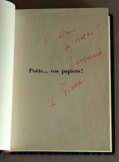 """Léo Ferré - Dédicace à Pierre Rastoul sur """"Poètes vos papiers"""". (Coll. Bibliothèque et Archives nationales du Québec)"""