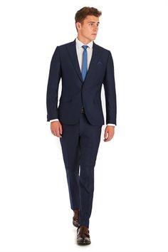 Moss London Slim Fit Blue Jacquard Suit