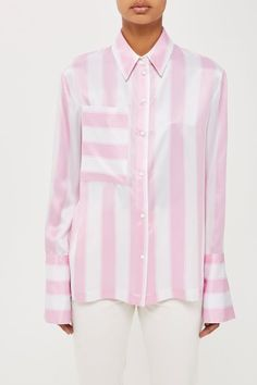 A pink and white stripe silk shirt by Boutique with cuff link detail. Made in Britain.
