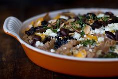 whole wheat pasta casserole with feta, kale + butternut squash