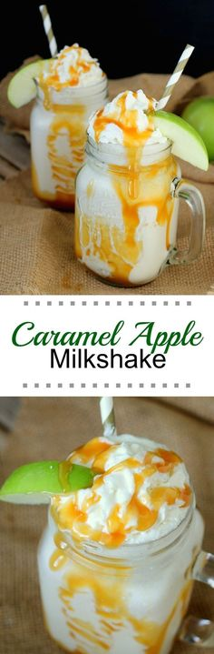 Nadire Atas Lattes - Hot, Frozen, Over Ice This Caramel Apple Milkshake is perfect for fall season and for fulfilling the need for total comfort food . milkshakes are so very comforting! Mini Desserts, Just Desserts, Delicious Desserts, Dessert Recipes, Yummy Food, Drink Recipes, Desserts Caramel, Baking Desserts, Smoothie Drinks