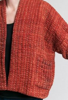 Womens Fashion - Raga Designs Cotton Kantha Bonita Jacket in Rust Sewing Clothes, Diy Clothes, Fall Clothes, Sashiko Embroidery, Japanese Embroidery, Embroidery Ideas, Hand Embroidery, Moda Casual, Quilted Jacket