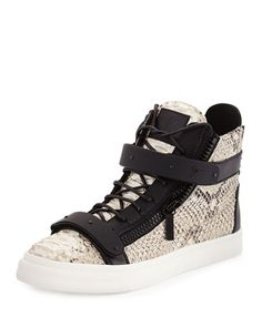 Men\'s+Snake-Print+High-Top+Sneaker,+Natural+by+Giuseppe+Zanotti+at+Neiman+Marcus.