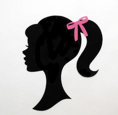 Items similar to FABRIC 5 x 4 Barbie Silhouette Iron On Applique diy with Bow on Etsy Barbie Theme Party, Barbie Birthday Party, Party Themes, Birthday Parties, Barbie Cake, Barbie Dolls, Barbie Accessories, Vintage Barbie, Paper Flowers