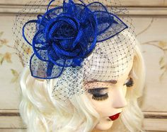 Royal Blue Fascinator Fascinator Hat with by MadameMerrywidow