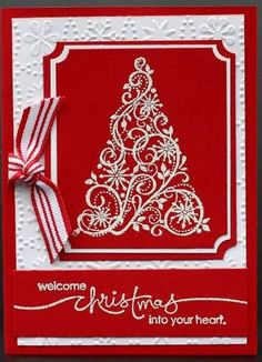 Swirled, Red, and Embossed by val h - Cards and Paper Crafts at Splitcoaststampers: