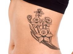Narcissus Flower Tattoo Black and White