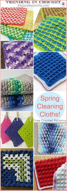 Trending In Crochet – Spring Cleaning Cloths! Get these Free Crochet Pattern links on The Purple Poncho.