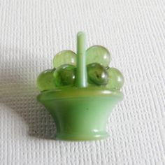 Green Vintage Celluloid Button Fruit Basket by Buttons From The Attic