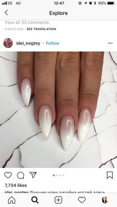 Beautiful ombré oval nails Beautiful ombré oval nails Related posts: Beautiful pink and white ombre nails with glitter ideas! Almond Acrylic Nails, Cute Acrylic Nails, Almond Nails, White Nails, Pink Nails, Nail Art Designs, Uñas Fashion, Oval Nails, Oval Nail Art