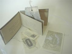 Silver Every Day by Alisa Golden. 2008. Poem about discovery, memory, and a shiny hope ahead. This is a folded book made from one piece of Stonehenge gray paper which has a pocket that holds imaginary silver ephemera: a stamp, a folded note, a bookmark, and other small works that might be found in a pocket at the end of the day. Painted paper covering boards, letterpress printing throughout from handset metal type, wood type, and pressure prints.