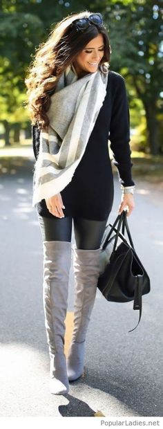 black-dress-leather-pants-nude-boots-and-a-nice-scarf