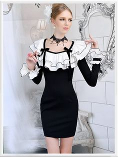 Morpheus Boutique  - Black White Ruffle Layer Flare Sleeve Lace Pencil Dress
