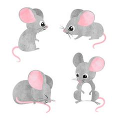 Find Set of cute little mice. Vector watercolor mouse collection stock vectors and royalty free photos in HD. Explore millions of stock photos, images, illustrations, and vectors in the Shutterstock creative collection. Cartoon Drawings, Animal Drawings, Easy Drawings, Animals Vector, Maus Illustration, Inkscape Tutorials, Mouse Crafts, Cute Mouse, New Years Nail Art
