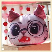 Description : ------------- Cute Cat Face Pillow With Core  Adorable design cushion with soft texture! Perfect for gift and home decoration! Material: Soft Plush. Filling: PP Cotton. Package include:
