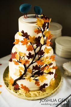 Fall Tree/Leaves theme :  wedding autumn fall favors place cards Fall Wedding Cake dream-wedding