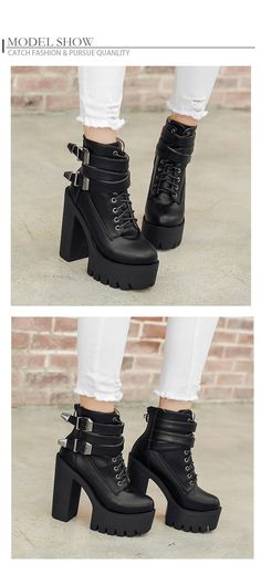 2018 Autumn Fashion Women Boots High Heels Platform Buckle Lace Up Leather Short Booties Black Ladies Shoes Good Quality Our product women's size stan Lace Up Ankle Boots, Ankle Booties, Buy Shoes Online, Leather Shorts, Platform Boots, Casual Boots, Black Booties, Fashion Boots, Ideias Fashion