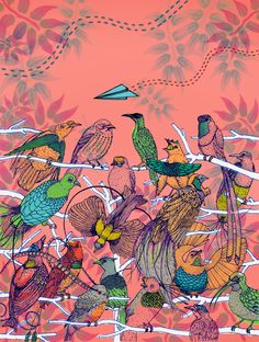 Seeing the Birds of Paradise in Person' By ShinYeon Moon New York, USA Paradise Found, Beautiful Birds, Childrens Books, Moon, Usa, Summer, Painting, Collection, Children's Books