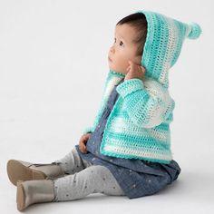 Lion Brand® Ice Cream® Big Scoop® Carroll Gardens Crochet Hooded Cardigan