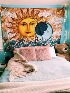The Celestial Tapestry represents a reaching for the stars, a presence of mind that is in tune with the Earth and its energy. Grab the Celestial Tapestry today at the best online tapestry website! Bohemian Bedrooms, Trendy Bedroom, Bedroom Simple, Bedroom Modern, My New Room, My Room, Girl Room, Cute Room Ideas, Room Goals