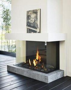 Three- sided Modern Fireplace