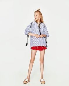 ZARA - WOMAN - EMBROIDERED TOP WITH CORDS