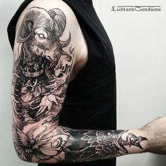 20 Artistic Blackwork Tattoos By Phil Tworavens Arm Sleeve Tattoos, Tattoo Sleeve Designs, Tattoo Designs Men, Hand Tattoos, Bull Tattoos, Badass Tattoos, Black Tattoos, Badass Tattoo For Men, Best Tattoos For Women