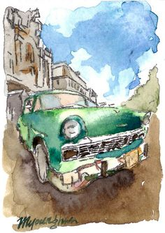 ACEO Limited Edition- Old car II, in watercolor on Etsy, $4.00