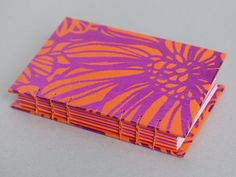 Orange & Pink Metallic Floral Coptic Bound Sketchbook / Journal / Notebook A6 Small / Coptic Stitch / Handbound / Flower / Magenta / Purple