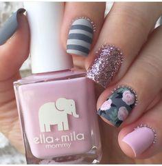 Grey and pink nail design.
