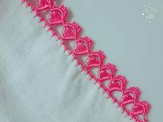 Tek Sıra Tek Renk Oya Yapılışı - YouTube Crochet Boarders, Crochet Edging Patterns, Crochet Lace Edging, Crochet Designs, Crochet Doilies, Crochet Stitches, Knitting Patterns, Hand Embroidery Patterns Flowers, Embroidery Designs