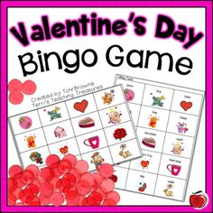 Colorful, ready-to-go Valentine's Day Bingo Game. Easy to make. Just print and cut the page in half! Great for introducing students to Valentine's Day vocabulary or to engage your students during a class party.