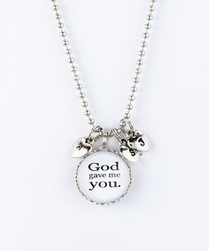 Another great find on #zulily! Silver 'God Gave Me You' Three Heart Charm Pendant Necklace #zulilyfinds