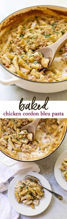 This baked chicken cordon bleu pasta has a creamy cheese sauce and is a delicious cold-weather dinner. Learn more about the recipe plus get more budget-friendly dinner ideas! #ad #teetermeals #comfortfood via @april7116